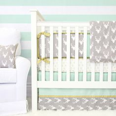 Woodlands Deer Baby Bedding | Mint and White Blanket