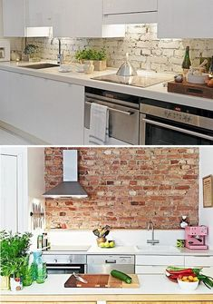 untreated brick wall tiles küchenrückwan