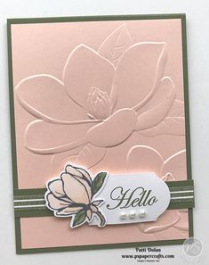 DIY handmade greeting card featuring the Magnolia Embossing Folder from Stampin' Up! I used the coordinating Good Morning Magnolia Bundle to complete the card. The embossed magnolia is so big and beautiful. You really don't need to add much more! Fun Fold Cards, Diy Cards, Handmade Greetings, Greeting Cards Handmade, Slider Card, Embossed Cards, Stamping Up Cards, Sympathy Cards, Paper Cards