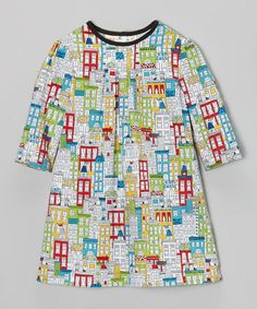 Take a look at this White & Green City Puff-Sleeve Dress - Toddler by Lilla Barn on #zulily today!