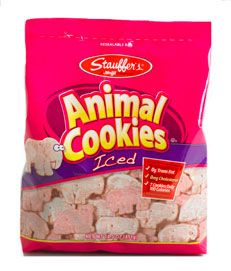 Stauffers Iced Animal Cookies. The very finest in processed foods. Love these.