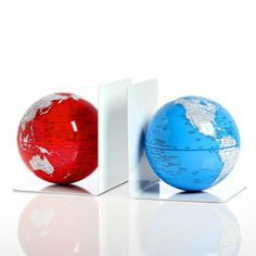 Magnet Bookends Globe Red Blue, $39, now featured on Fab.