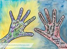 expressive Art therapy activities Hands Hold On To and Let Go Art Therapy Group Therapy Activities, Therapy Worksheets, Activities For Teens, Counseling Activities, Art Activities, School Counseling, Group Counseling, Art Therapy Projects, Therapy Tools