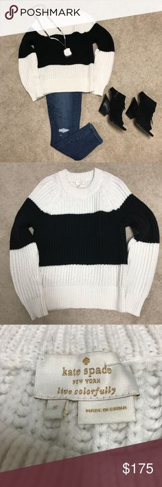 NWT Kate Spade stripe chunky knit sweater SZ small NWT Kate Spade stripe chunky knit sweater SZ small.  Content: 40% polyamide, 30% polyester, 30% wool. Dry Clean Only. kate spade Sweaters Crew & Scoop Necks