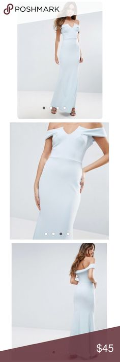 """ASOS Bridesmaid Off Shoulder Fishtail Maxi Brand New with Tag Maxi dress by Club L Lightly-textured woven fabric Off-shoulder design Notch front Fishtail skirt Slim fit - cut close to the body Stretching material  Machine wash 95% Polyester, 5% Elastane Our model wears a UK 8/EU 36/US 4 and is 176cm/5'9.5"""" tall ASOS Dresses Maxi"""