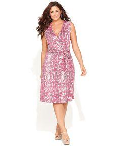 INC International Concepts Plus Size Dress, Sleeveless Faux-Wrap Snake-Print - Plus Size Dresses - Plus Sizes - Macy's