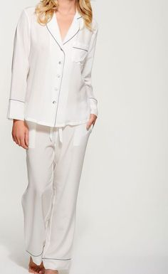 Women's Ivory Silk Crepe de Chine Long Pyjama Set - Handmade in Limited Edition