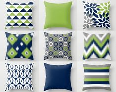 Throw Pillow Cover Designs in navy, pear green, grey, and white.  Individually cut and sewn, features a 2 sided print and is finished with a zipper for ease of care. SIZES: 16in. X 16in. 18in. X 18in. 20in. X 20in. 26in. X 26in. (euro) 14in. X 20in. (lumbar)   IMPORTANT: These are COVERS ONLY! You can cover your existing pillows or purchase inserts online or at any local craft store.   FABRIC: Spun Poly Poplin. Medium weight high quality fabric that is durable and slightly textured and…