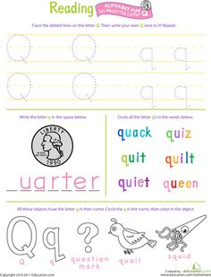 Worksheets: Get Ready for Reading: All About the Letter Q
