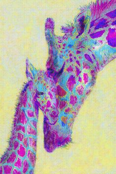 nursery print of loving mother and baby giraffe in aqua, violet purple, and soft yellow. Free shipping November 27-28 only