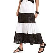 Style Skirt, Striped Lace Tiered Maxi