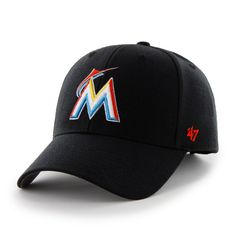 Miami Marlins MVP Black 47 Brand Adjustable Hat - Great Prices And Fast Shipping at Detroit Game Gear Detroit Game, Miami Marlins, Velcro Straps, Caps Hats, Baseball Hats, Bmw, Wool, Black, Baseball Caps