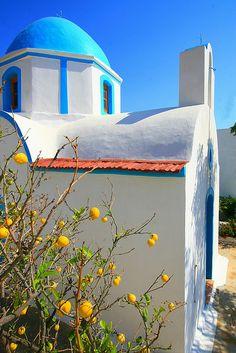 Chapel and lemon tree, Lipsi island,Greece