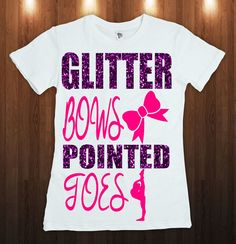 GLITTER BOWS & Pointed Toes CHEER Tee Shirt *Multiple Colors Option* Pink is The standard Color Choose the Glitter Color