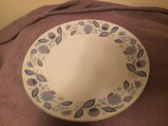 "Genuine Porcelain China 8"" Plate. Blue And Purple Flowers  