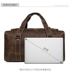 "Men Travel Bag Duffle Large Capability Genuine Leather 27"" Weekend Bags Man Tote Business Vintage Designer Handbag Bag"