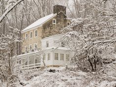 familyandfarm:    Old farm house in snow - White Clay Preserve by D A Cameron on Flickr.