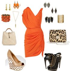 Orange Dress - 2 Looks, created by jehrlichman on Polyvore