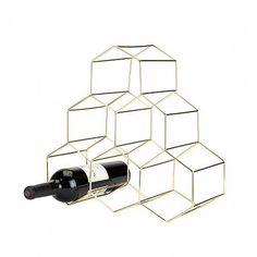Belmont: Geo Wine Rack Brand: Viski Material: Gold plated stainless steel construction Holds six standard wine bottles Hexagon design Wine Glass Rack, Bottle Wall, Wine Bottle Holders, Wine Bottles, Wine Racks, Beer Bottle, Countertop Wine Rack, Countertops, Tabletop