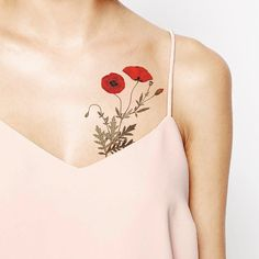 Vintage Poppy Temporary Tattoo wrist ankle body by ArrowTattoo