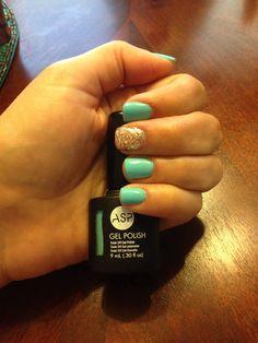Asp gel polish -blue crush & gelish-all that glitter is gold Asp Gel Polish, Nail Polish, Gelish Nails, Opi, Nice Nails, Fun Nails, Gel Nails At Home, Nail Jewelry, Blue Crush