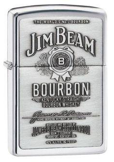 Zippo Lighter - Jim Beam Pewter Emblem Chrome - Lighter USA