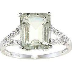 10k White Gold Emerald-cut ...