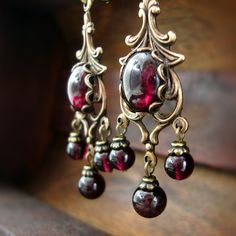 0602b6d28 Victorian Style Natural Garnet Cabochon Chandelier Earrings -Antiqued brass  filigree with romantic red garnet stones. Ardent Hearts Designs