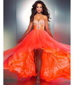 2c6b475d8f4 Mac Duggal Prom 2013 - Strapless Neon Orange Gown - Unique Vintage -  Cocktail