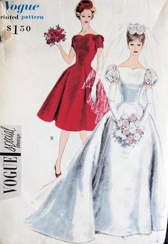 1950s PRINCESS STYLE BRIDAL GOWN WEDDING DRESS PATTERN LOVELY STYLE VOGUE SPECIAL DESIGN 4068 (I prefer the style of the bridesmaids' dress)