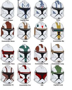 Clone commando helmet paint reference chart