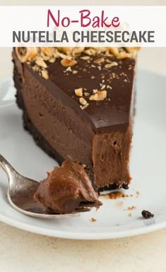 No-Bake Nutella Cheesecake is a perfectly easy dessert recipe for any occasion. The filling doesn't rely on gelatin or whipped cream and contains just three ingredients! #bakedbyanintrovertrecipes #nutellacheesecake #nobake #nutella