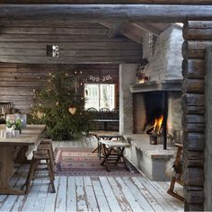Cabin and stone/cement fireplace...