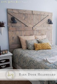 I like how the lights are built in! <3 MG DIY Barn Door Headboard DIY Furniture