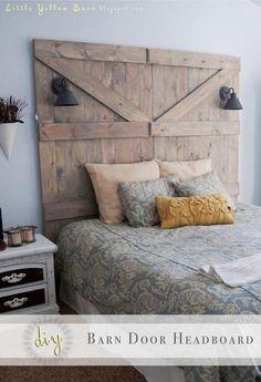 I like how the lights are built in! <3 MG DIY Barn Door Headboard DIY Furniture