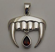 Vampire Fangs Pendant in .925 Sterling Silver - Dark Romantic Gothic Vampire Teeth with Garnet