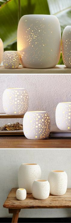 Pierced Porcelain Tealights | perforated with a delicate design inspired by the night sky that filters light in the loveliest way | Candles | Candlelight | Romantic | Home Decor | Sponsored #homedecor