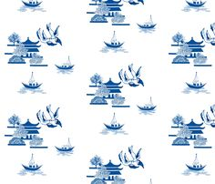 A single tile of Swallows & Boats for a repeating design. Inspired by Blue Willow china.