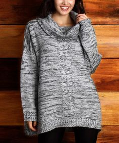 Loving this Gray Marble Knit Cowl Neck Sweater - Plus on #zulily! #zulilyfinds