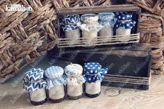 www.kamalion.com.mx - Mesa de Recuerdos / Giveaways / Detalles Personalizados / Vintage / Bautizo / It's a boy / Blue / Azul / Mermelada / Jam / Wood / Madera / Kit de Mermeladas / Frascos / Jars.