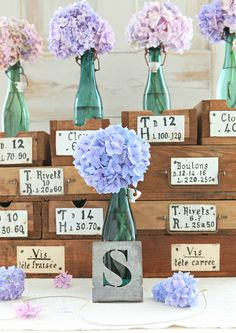 Boxes, Hydrangeas, lettering all are a few of my favorite things!