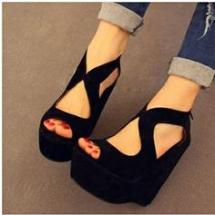 Open Toe Shoes Platform Wedges High-heeled Sandals