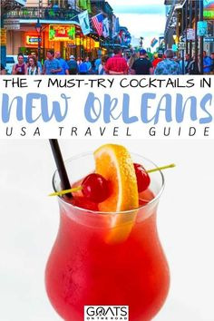 Planning a trip to New Orleans? We've got the ultimate guide to the 7 must-try cocktails in New Orleans! Whether you are a rum lover, a gin person or you like a little afternoon pimms, the bartenders in New Orleans know how to make a good cocktail! | #neworleans #USA #cocktail Most Popular Cocktails, Fun Cocktails, New Orleans Drinks, Hurricane Drink, Gin Fizz, New Orleans Travel, Bartenders, Daiquiri