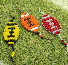 Don't kick off without making one of our Football Pony Bead Patterns! Follow these steps to make your own spirited key chain or find more projects.