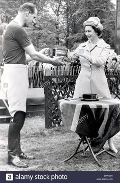 Stock Photo - Queen Elizabeth II handing over the 'Royal Windsor Horse Show Cup' to her husband Prince Philip Young Queen Elizabeth, Elizabeth Philip, Princess Elizabeth, Princess Margaret, Hm The Queen, Royal Queen, Her Majesty The Queen, King Queen, Young Prince Philip