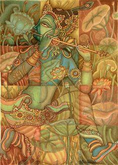 Painting of Krishna using natural colors by Sadaanandan PK Kerala Mural Painting, Indian Art Paintings, Canvas Paintings, Watercolor Paintings Nature, Landscape Paintings, Modern Art, Contemporary Art, Mythology Paintings, Indian Folk Art
