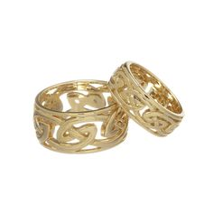 Mens Yellow Gold Rounded Celtic Woven Knotwork Wedding Band