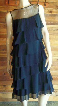 NWT PATRA BLACK TIERED RUFFLED BLACK SIZE 8 DRESS ~ ORIG $120.00 #Patra #Tiered #LittleBlackDress