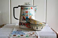Vintage Enamelware Coffee Pot Folk Motif - Enameled Dutch German Scandinavian Midcentury