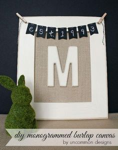 Create this beautiful DIY Monogrammed Burlap Canvas. It even has a sweet diy chalkboard bunting. Perfect for a gallery wall or home decor. Burlap Projects, Burlap Crafts, Diy Craft Projects, Craft Ideas, Diy Ideas, Project Ideas, Decorating Ideas, Party Ideas, Home Crafts